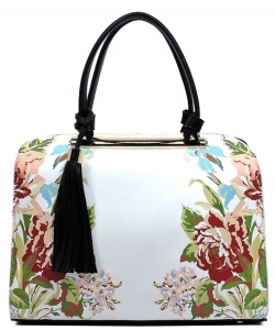 Flower Printed Day Satchel ES1557 BLACK