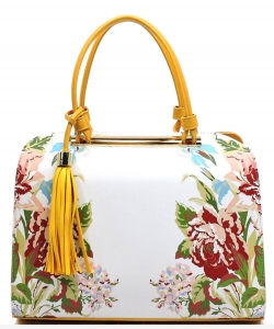 Flower Printed Day Satchel ES1557 YELLOW