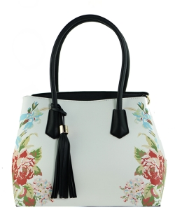 Flower Printed Day Satchel ES1559 BLACK