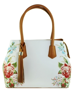 Flower Printed Day Satchel ES1559 LBROWN