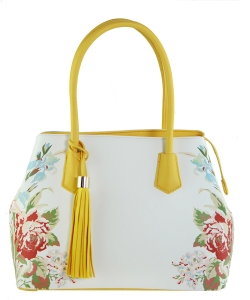 Flower Printed Day Satchel ES1559 YELLOW