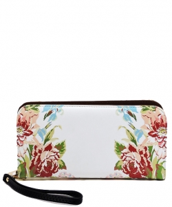 Flower Printed Zip Around Wallet Wristlet  W11697 BLACK