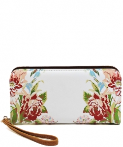 Flower Printed Zip Around Wallet Wristlet  W11697 BROWN