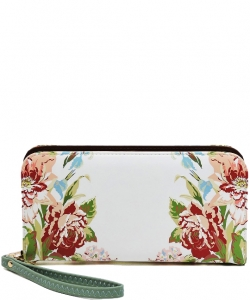 Flower Printed Zip Around Wallet Wristlet  W11697 MINT