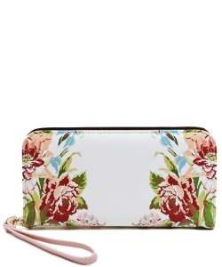 Flower Printed Zip Around Wallet Wristlet  W11697 PINK