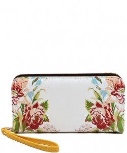 Flower Printed Zip Around Wallet Wristlet  W11697 YELLOW