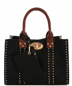 Fashion 2 in 1 Studded Tote Bag With Long Strap 60345B
