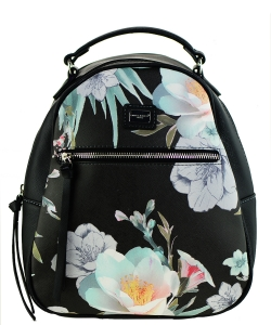 David Jones Faux Leather MINI Flower Backpack 57332 BLACK