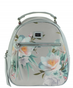 David Jones Faux Leather MINI Flower Backpack 57332 LGRAY