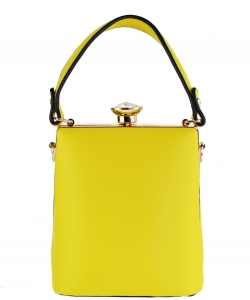 Diamond Top Twist Lock Closure Messenger Bag BW2098 YELLOW