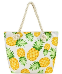 Designer Summer Pineapple Canvas Tote Bag FC00641