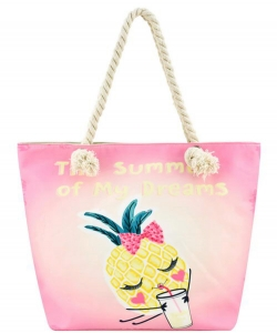 Designer Summer Pineapple Canvas Tote Bag FC00643