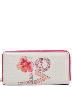 Designer Love Single Zip Around Wallet WA00031