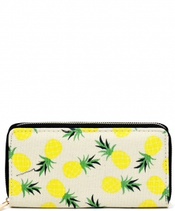 Designer Fruits Single Zip Around Wallet WA00486