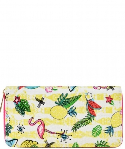 Designer Flamingo Single Zip Around Wallet WA00491