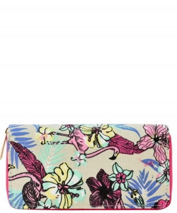 Designer Flamingo Single Zip Around Wallet WA00492