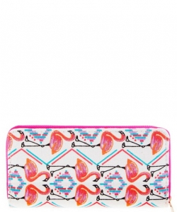 Designer Flamingo Single Zip Around Wallet WA00494
