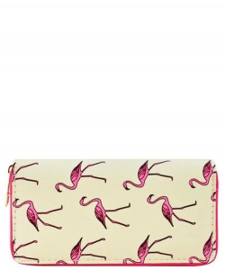 Designer Flamingo Single Zip Around Wallet WA00495