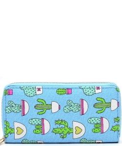 Designer Cactus Single Zip Around Wallet WA00512