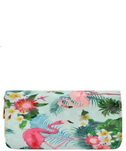 Designer Flamingo Single Zip Around Wallet WA00472