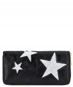 Designer Sparkling Star Single Zip Around Wallet WA0056 BLACK
