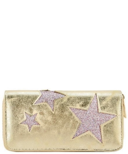 Designer Sparkling Star Single Zip Around Wallet WA0056 GOLD