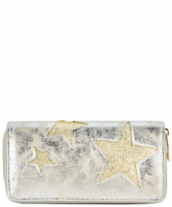 Designer Sparkling Star Single Zip Around Wallet WA0056 SILVER