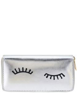 Designer  Eyelashes Single Zip Around Wallet WA0057 SILVER