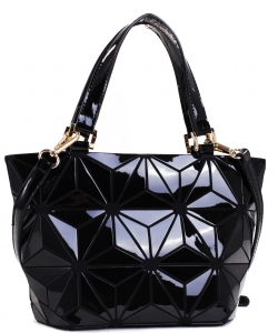 Mini Hologram Tote Shoulder Bag Lightweight Laser PU Leather Purse 87649 BLACK