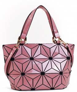 Mini Hologram Tote Shoulder Bag Lightweight Laser PU Leather Purse 87649 PINK