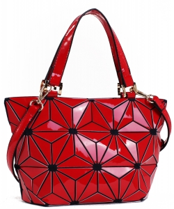 Mini Hologram Tote Shoulder Bag Lightweight Laser PU Leather Purse 87649 RED