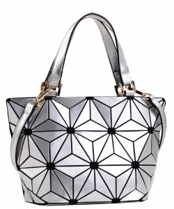 Mini Hologram Tote Shoulder Bag Lightweight Laser PU Leather Purse 87649 SILVER