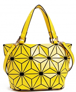 Mini Hologram Tote Shoulder Bag Lightweight Laser PU Leather Purse 87649 YELLOW