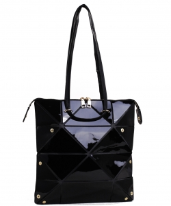 Long Hologram Tote Shoulder Bag Lightweight Laser PU Leather Purse 87650 BLACK