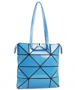 Long Hologram Tote Shoulder Bag Lightweight Laser PU Leather Purse 87650 BLUE