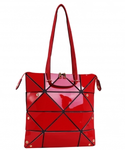 Long Hologram Tote Shoulder Bag Lightweight Laser PU Leather Purse 87650 RED