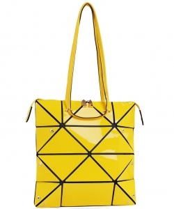 Long Hologram Tote Shoulder Bag Lightweight Laser PU Leather Purse 87650 YELLOW