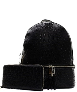 Handbag Inc Ostrich Vegan Leather Small Backpack and Wallet OS1082 BLACK