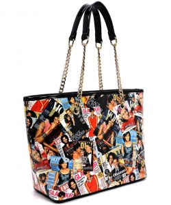 Magazine Print Patent Shoulder Design Handbag PA0020 BLACK