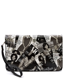 Fashion Magazine Clutch Print Faux Patent Leather Handbag With Gold Embellishments H82506 BLACK