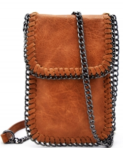Whipstitch Accent Metal Chain Cross Body Cellphone Case LS2186-BROWN