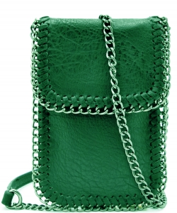 Whipstitch Accent Metal Chain Cross Body Cellphone Case LS2186- GREEN