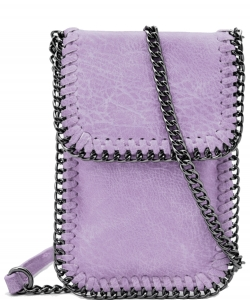 Whipstitch Accent Metal Chain Cross Body Cellphone Case LS2186- PURPLE