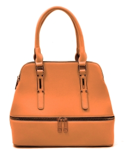 Fashion Zip Top Handle Satchel LW1402A BROWN
