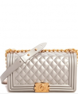 Fashion Chic Thick Pvc Tender Crossbody Bag PR7017 SILVER