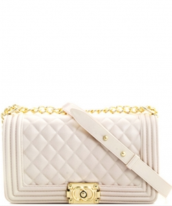 Fashion Chic Thick Pvc Tender Crossbody Bag PR7017 WHITE