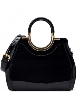 Hardware Handle Accent Glossy Satchel L0785 BLACK