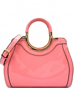 Hardware Handle Accent Glossy Satchel L0785 PINK