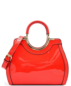 Hardware Handle Accent Glossy Satchel L0785 RED