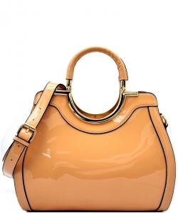 Hardware Handle Accent Glossy Satchel L0785 TAN